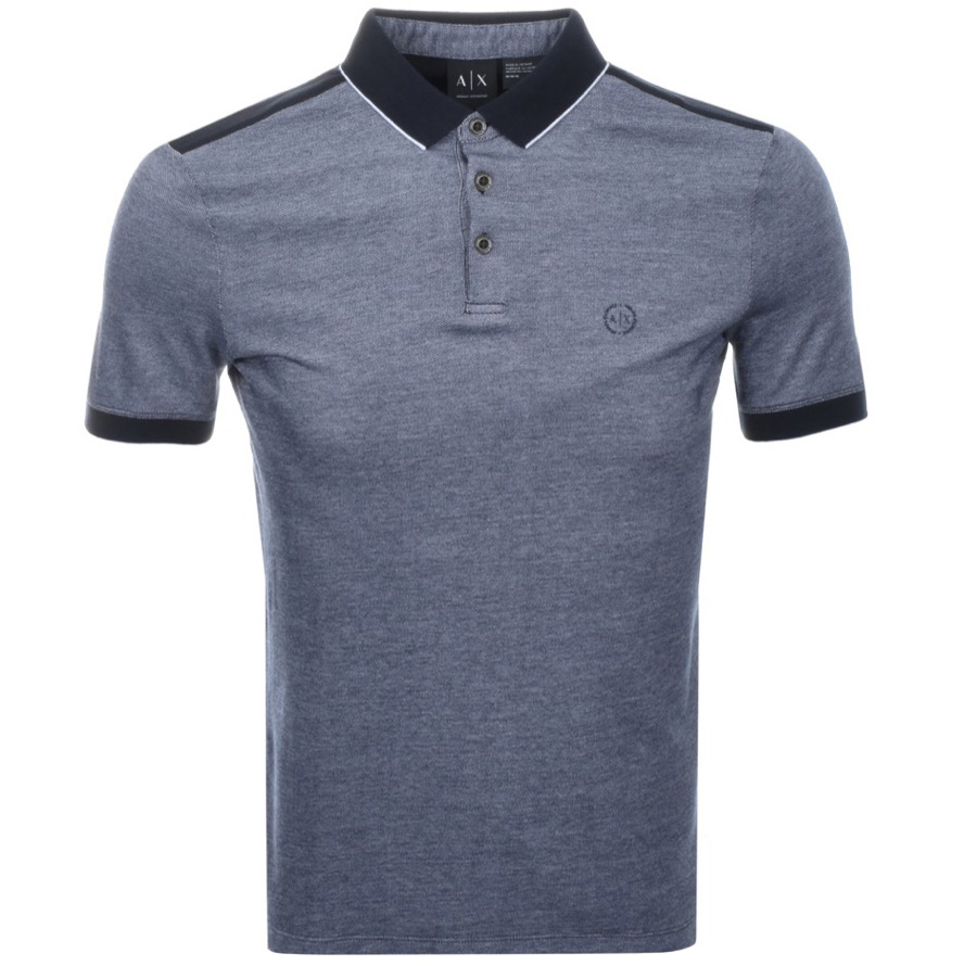 28b50e6a Armani Exchange Two Tone Polo T Shirt Navy | Mainline Menswear