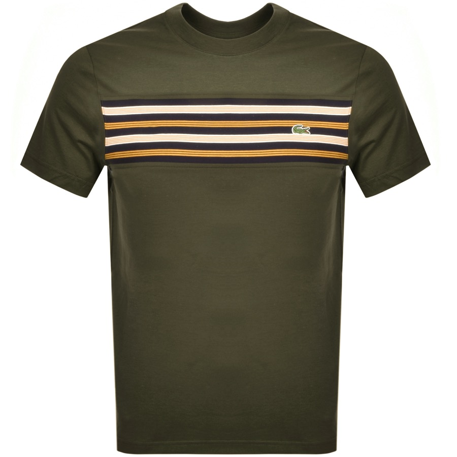 Lacoste Crew Neck Stripe Panel T Shirt Green