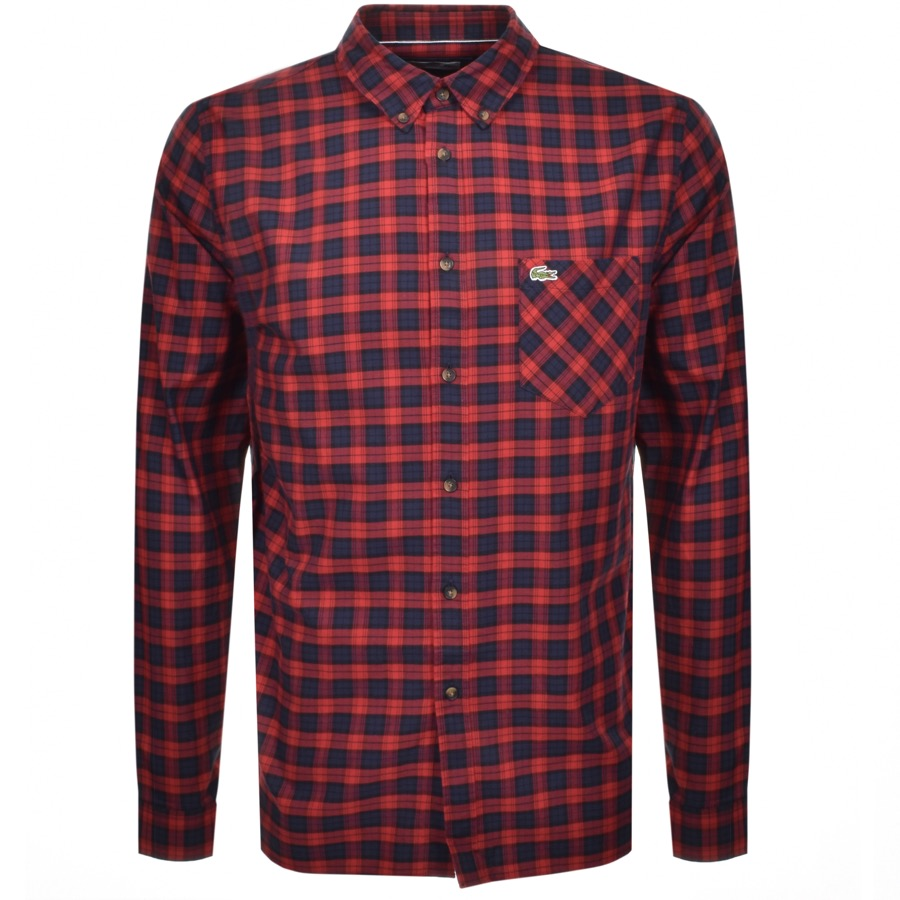 Lacoste Long Sleeved Checked Shirt Red