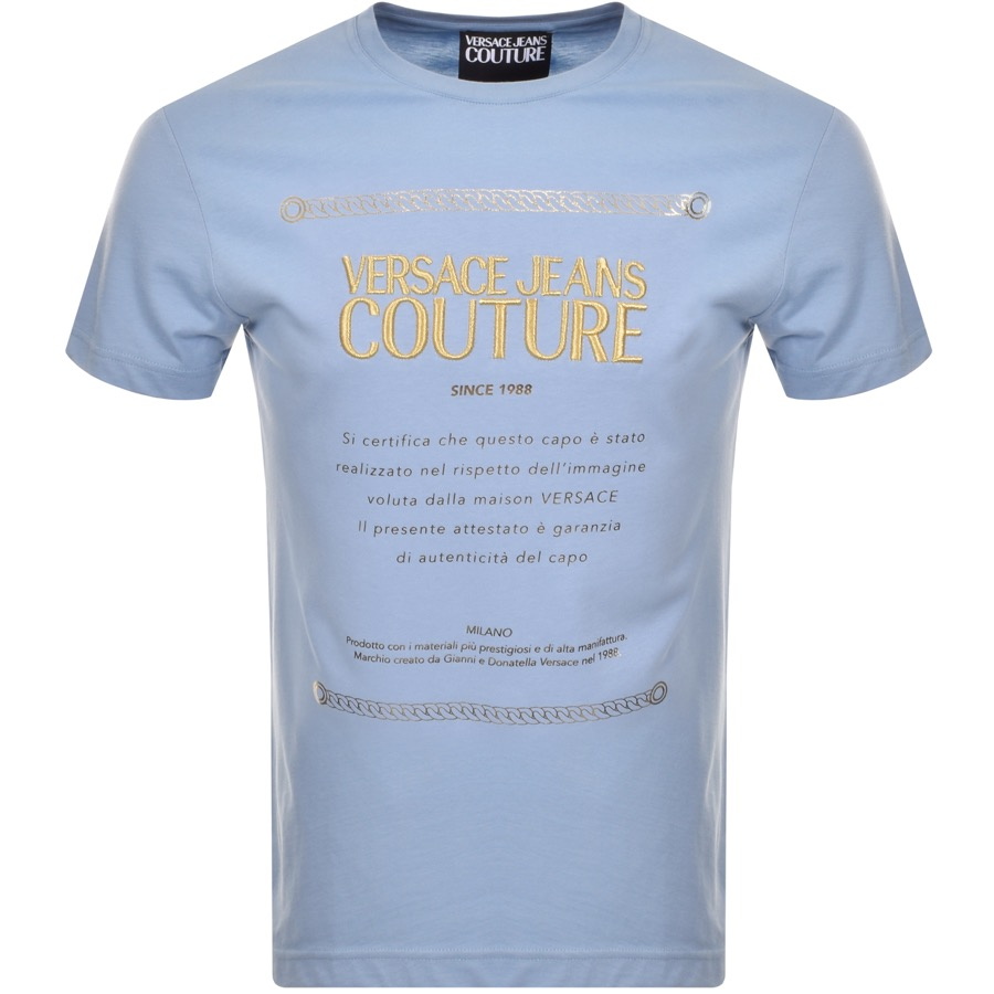 6391967b1b0f Product Image for Versace Jeans Couture Label Logo T Shirt Blue