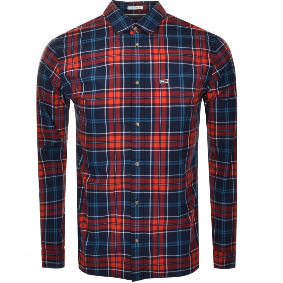 eedc9526d7d16a Product Image for Tommy Jeans Long Sleeved Logo Check Shirt Navy