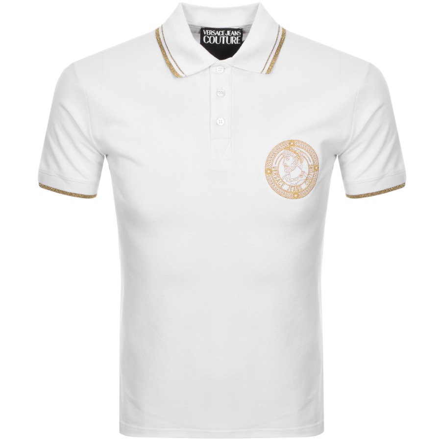 ee36b981f54931 Versace Jeans Couture Logo Polo T Shirt White | Mainline Menswear