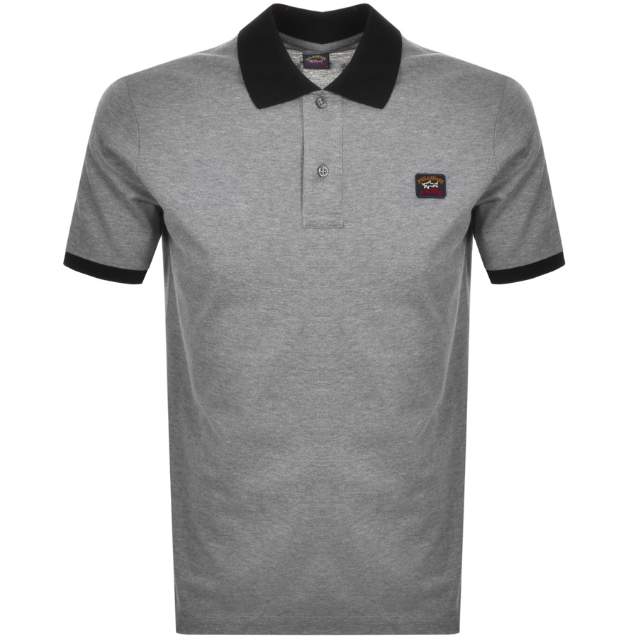 Paul And Shark Short Sleeved Polo T Shirt Grey