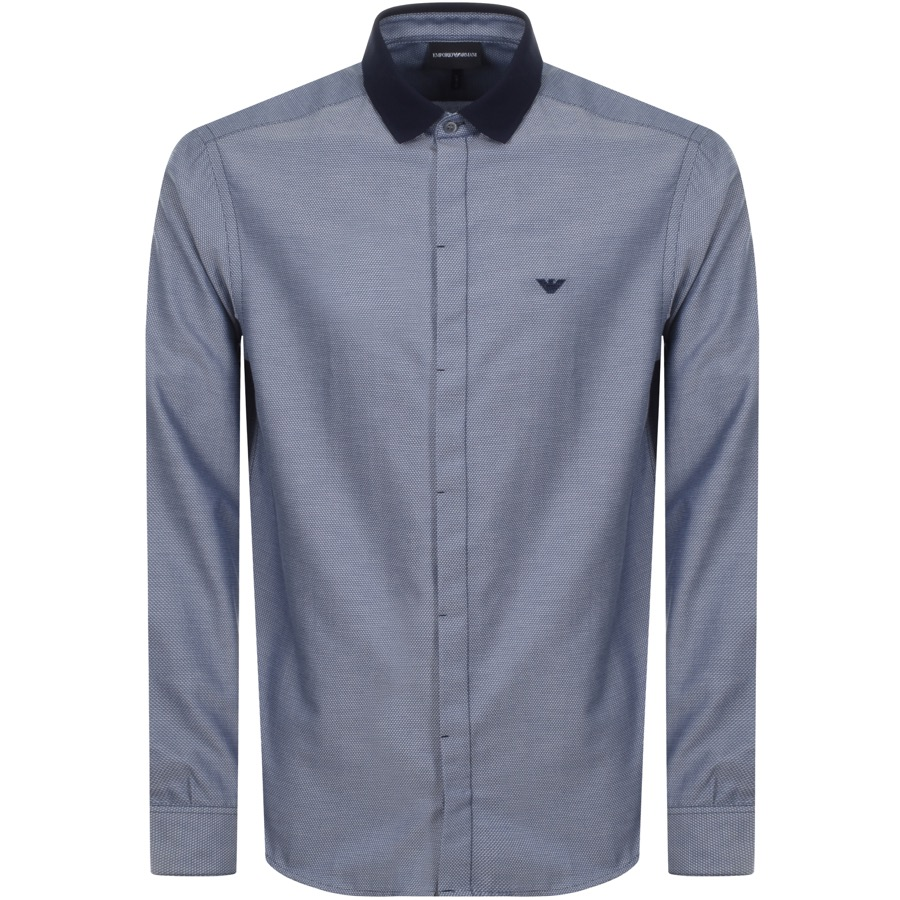 Emporio Armani Long Sleeved Contrast Shirt Navy