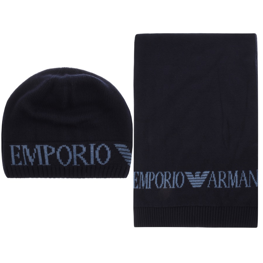 Emporio Armani Logo Scarf And Hat Gift Set Navy