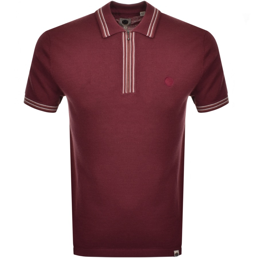 6003c37d0 Product Image for Pretty Green Zip Neck Knit Polo T Shirt Burgundy