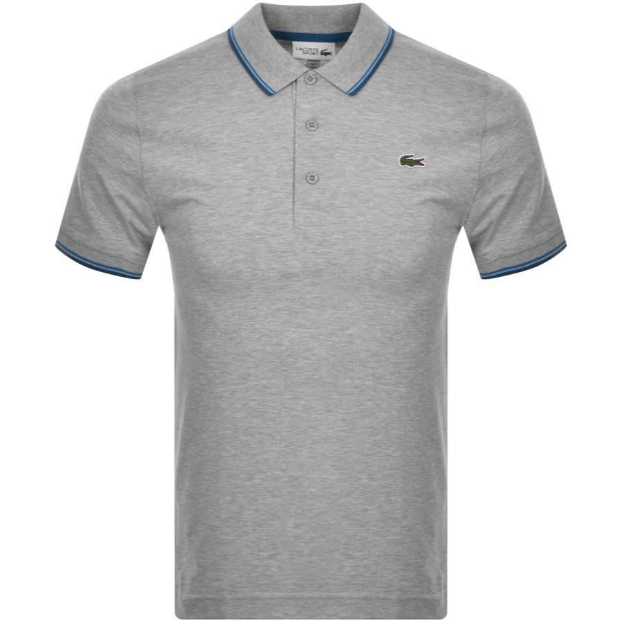 Lacoste Sport Tipped Polo T Shirt Grey