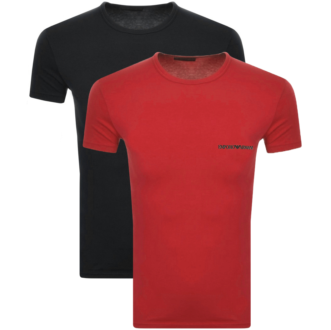 e0021923 Product Image for Emporio Armani 2 Pack Crew Neck T Shirts Red