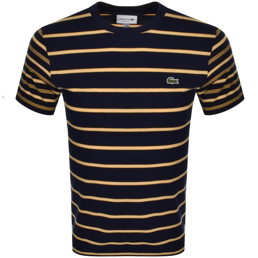 7594b7115c82 Product Image for Lacoste Crew Neck Striped T Shirt Navy
