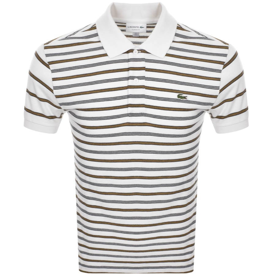 Lacoste Short Sleeved Strip Polo T Shirt Cream