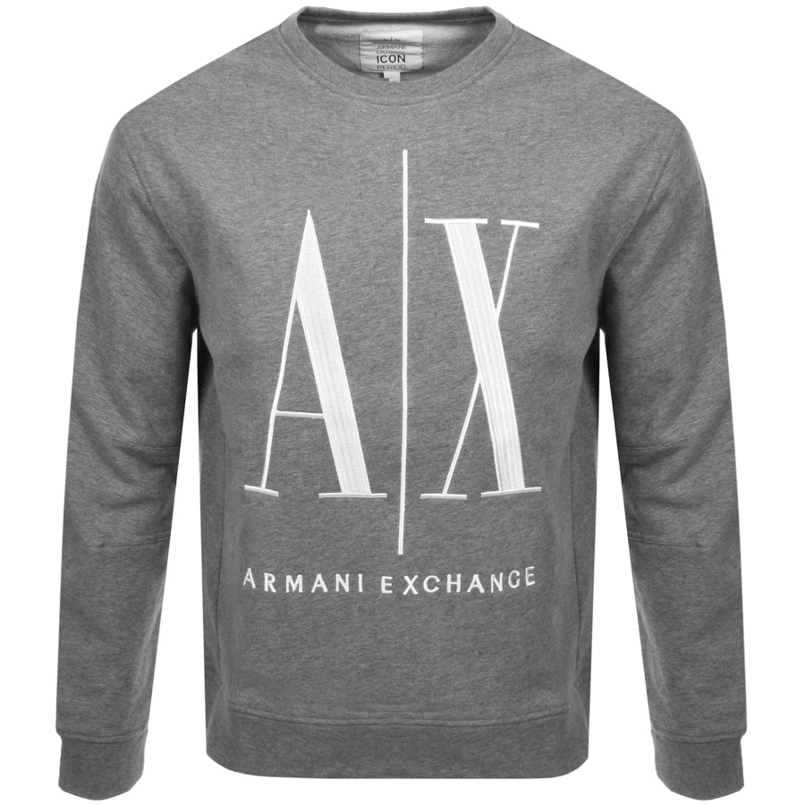 f1225e3db08d20 Armani Exchange Crew Neck Logo Sweatshirt Grey | Mainline ...