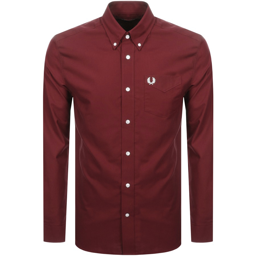 549a5946722133 Fred Perry Long Sleeved Classic Oxford Shirt Red | Mainline Menswear