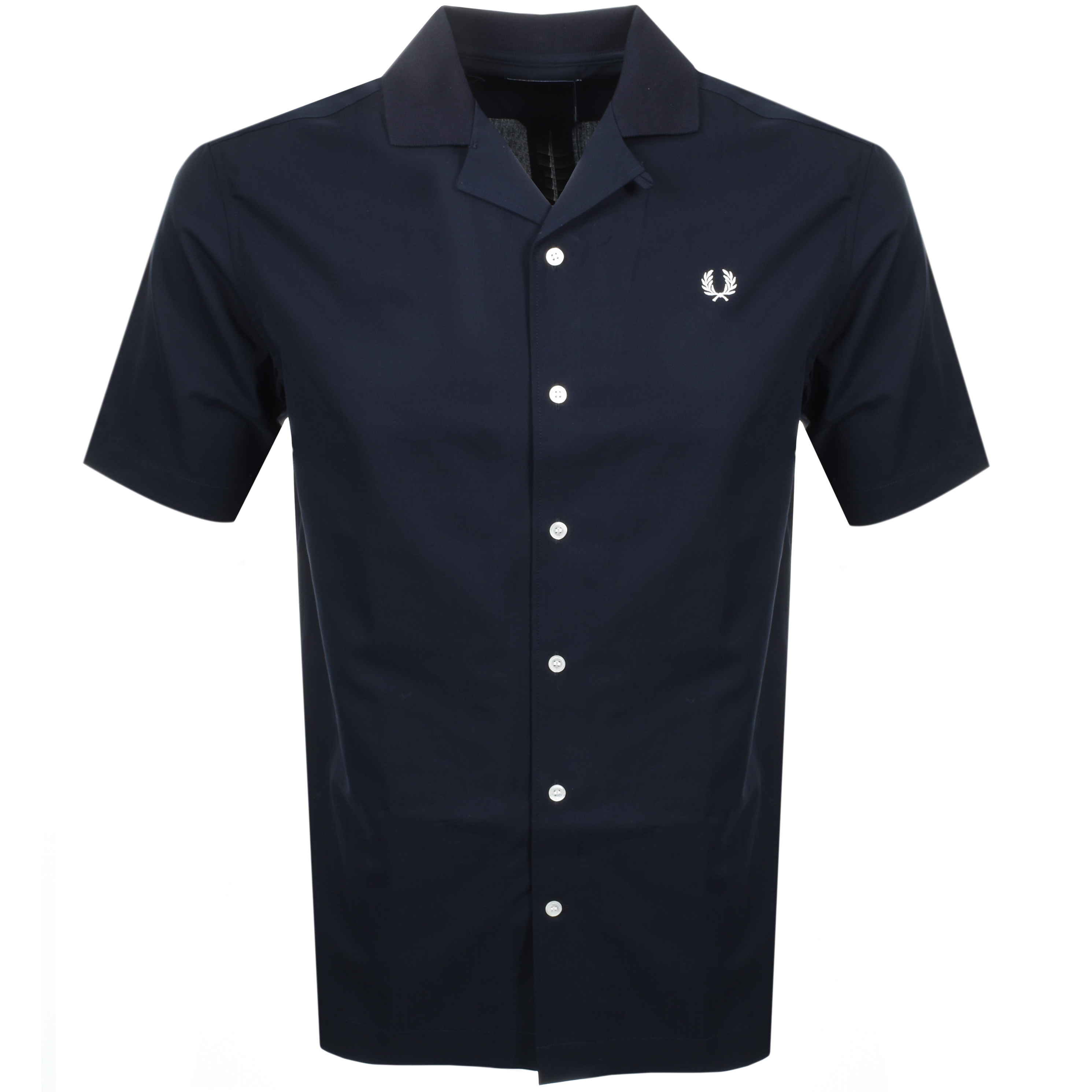 Fred Perry Short Sleeved Revere Collar Shirt Navy