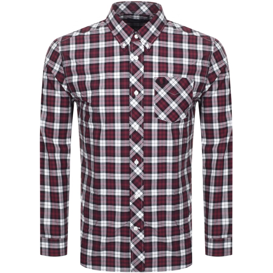 fe7bb26f Product Image for Fred Perry Long Sleeved Tartan Shirt Burgundy