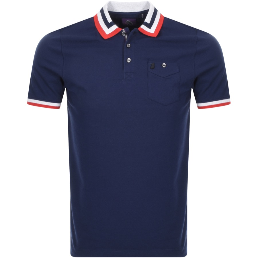 Luke 1977 Spade Striped Polo T Shirt Navy