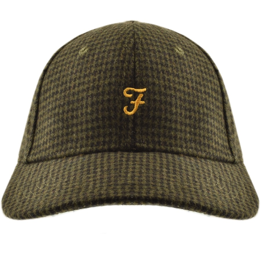 918c9c067e362 Product Image for Farah Vintage Houndstooth Baseball Cap Green