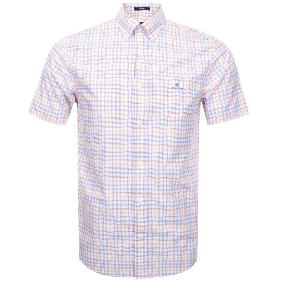 Gant Short Sleeved Tattersall Shirt White