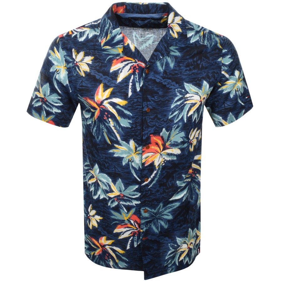 Details about Tommy Hilfiger Men's short Sleeve Hawaii Shirt Blue Tropical Pattern MW0MW10930