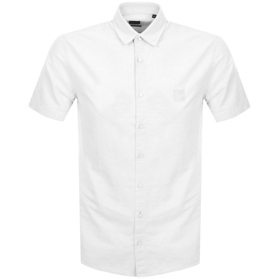 88190fa91 Product Image for BOSS Casual Short Sleeved Magneton Shirt White