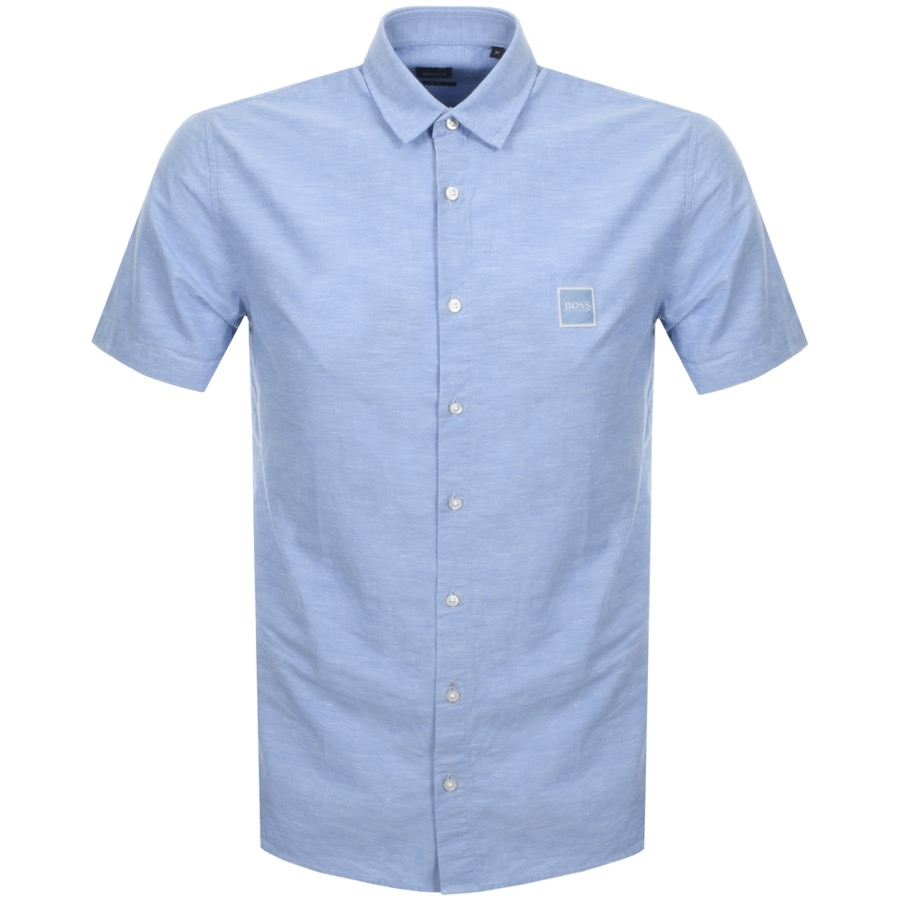 07fd2db27890e Alternative Image for ProductBOSS Casual Short Sleeved Magneton Shirt Blue1  ...