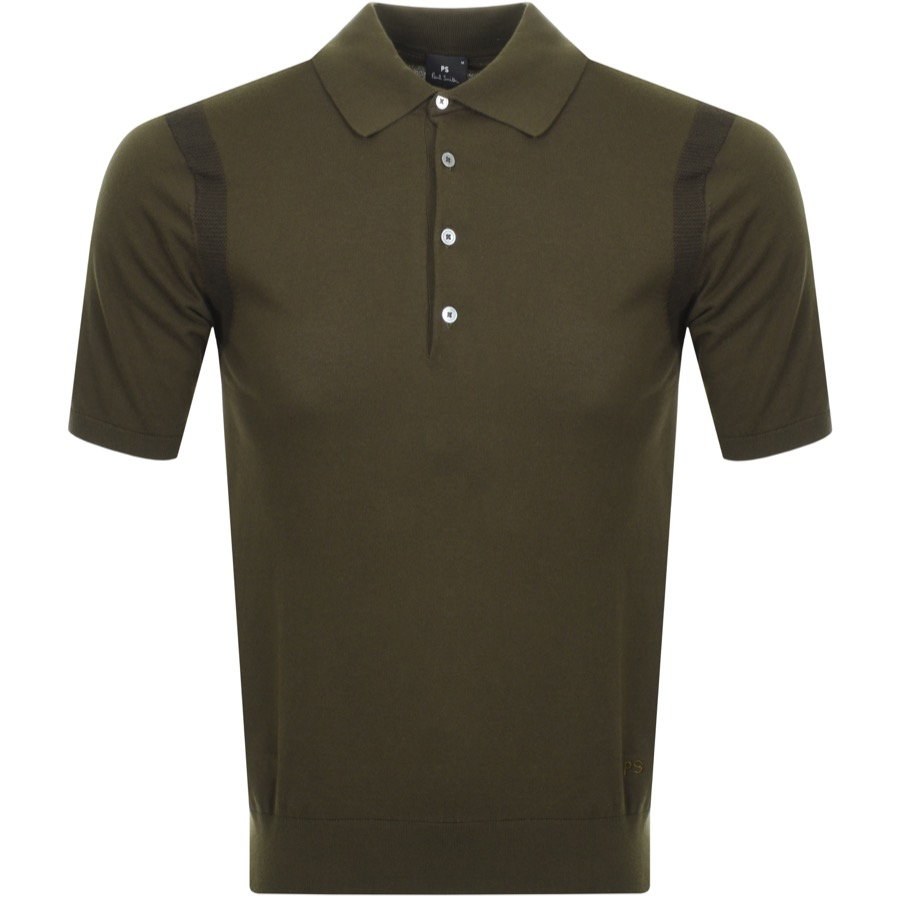 eb032298 Alternative Image for ProductPS By Paul Smith Knitted Polo T Shirt Green1  ...
