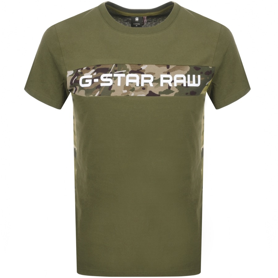 5eaaacd8336 Product Image for G Star Raw Crew Neck Camouflage T Shirt Sage
