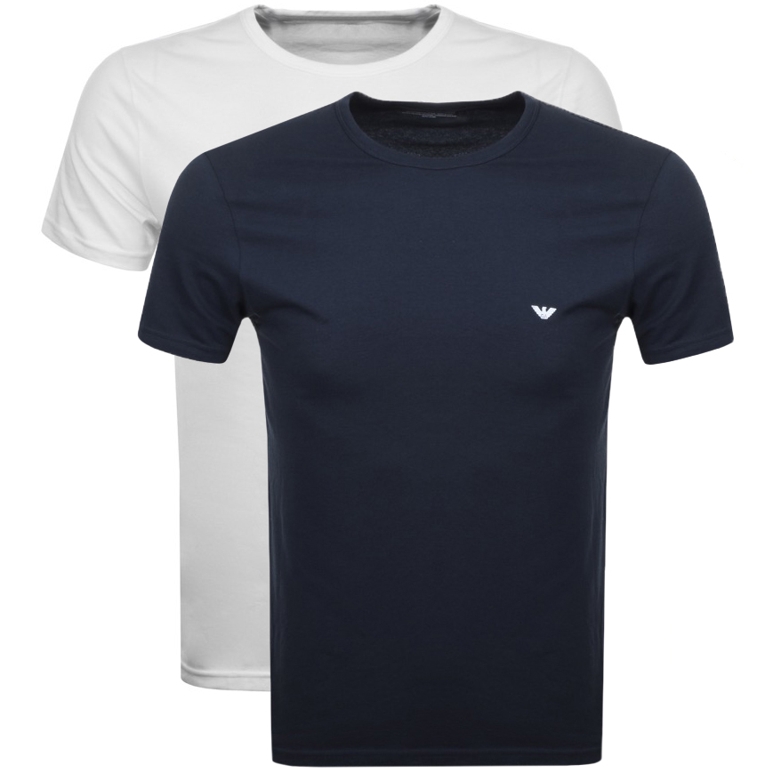 f3c87d840b492 Emporio Armani 2 Pack Crew Neck T Shirts | Mainline Menswear