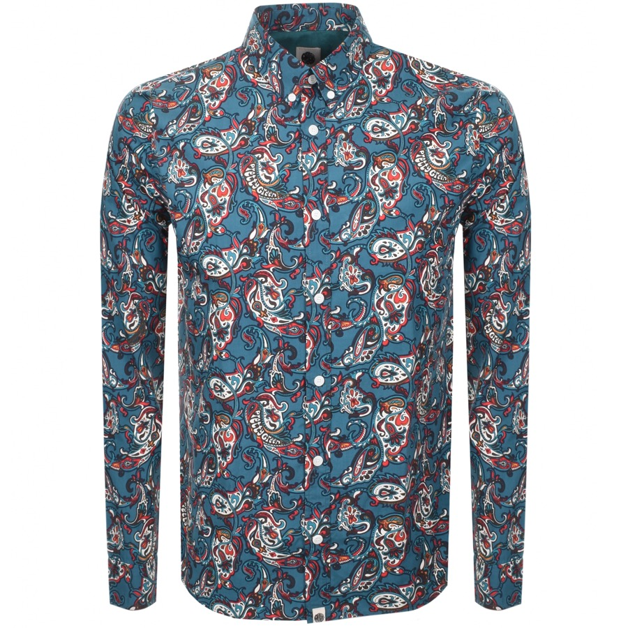74823ebaf2 Product Image for Pretty Green Long Sleeved Paisley Shirt Teal