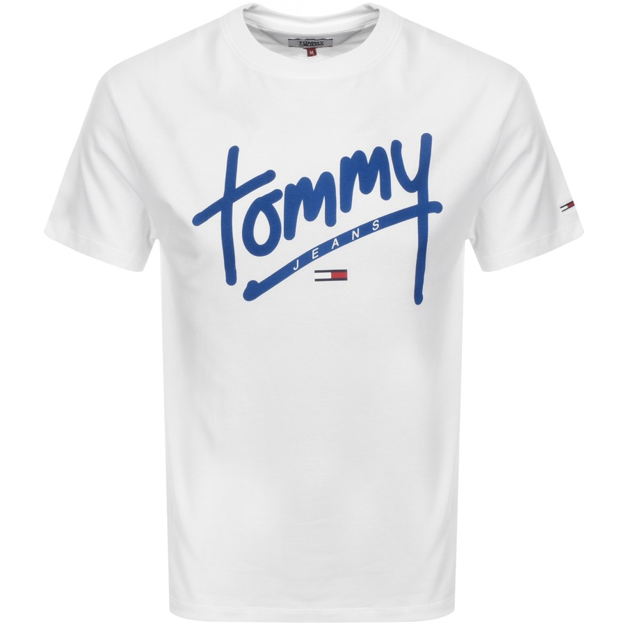Tommy Jeans Crew Neck Script T Shirt White Mainline Menswear