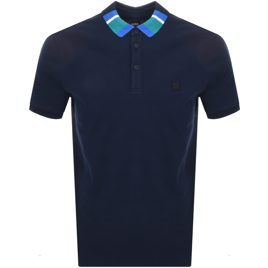 BOSS Casual Polarised Polo T Shirt Navy