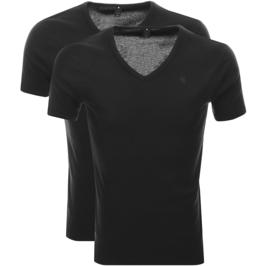 3cda329eaa Product Image for G Star Raw 2 Pack V Neck T Shirt Black