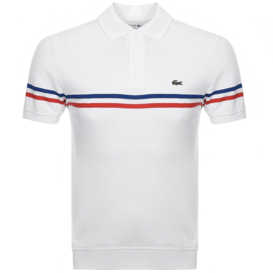 d2d9b4afd0a Product Image for Lacoste Short Sleeved Stripe Polo T Shirt White