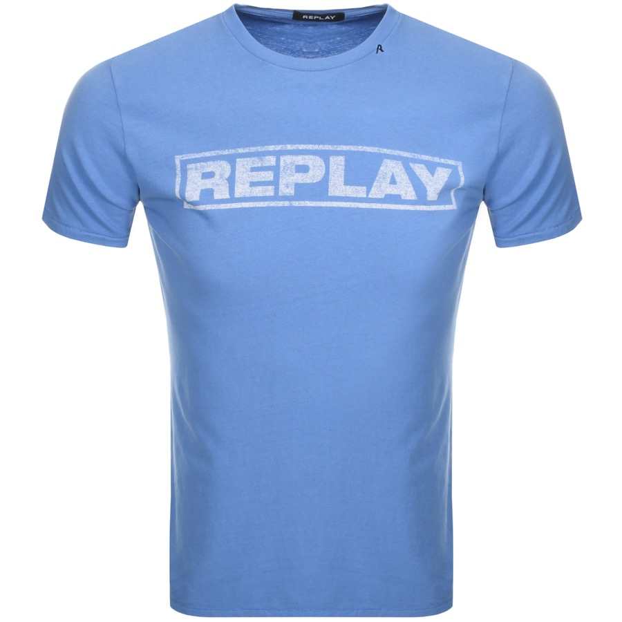 25ee983ef56 Product Image for Replay Logo Crew Neck T Shirt Blue