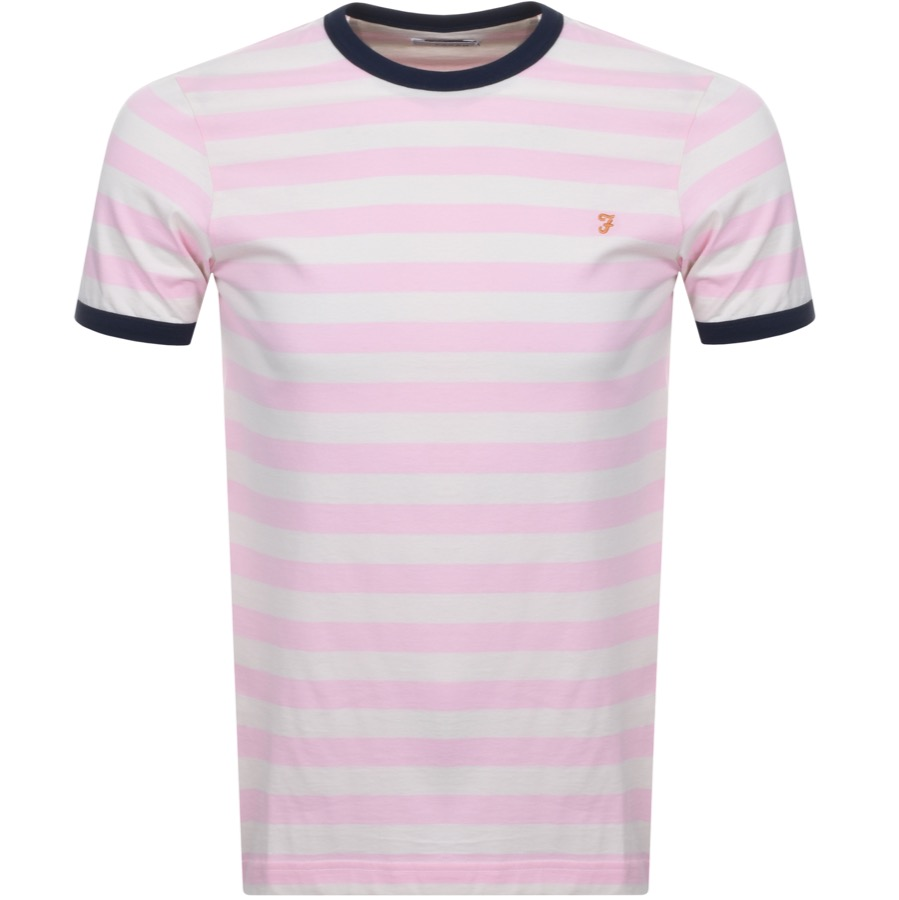 Main Product Image for Farah Vintage Belgrove Stripe T Shirt Pink