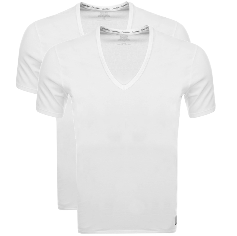 Calvin Klein 2 Pack V Neck T Shirts White