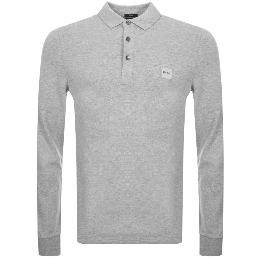 BOSS Casual Long Sleeved Polo T Shirt Grey