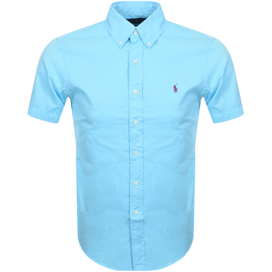 Main Product Image for Ralph Lauren Short Sleeved Slim Fit Shirt Blue