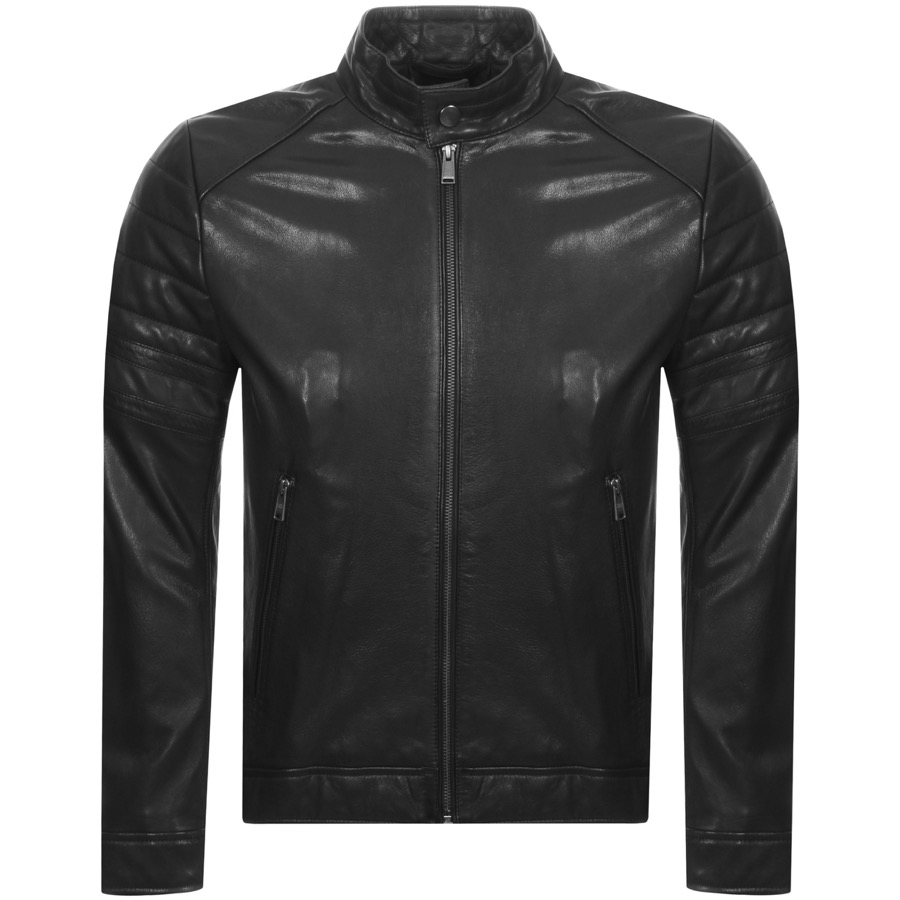 017cbc4fa6 Product Image for BOSS HUGO BOSS Gelimi Leather Jacket Black