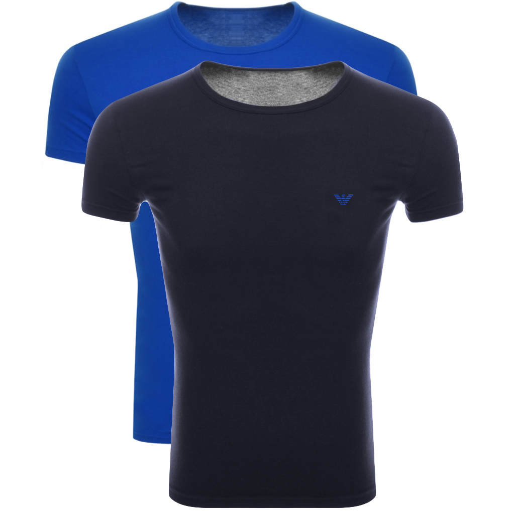 Main Product Image for Emporio Armani 2 Pack Crew Neck T Shirts Blue