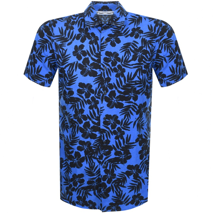 BOSS Casual Short Sleeved Rash Shirt Blue