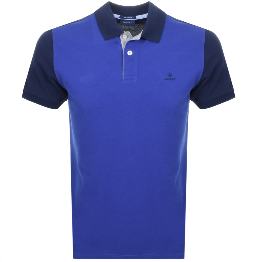 75f490bed3d Product Image for Gant Colourblock Rugger Polo T Shirt Blue