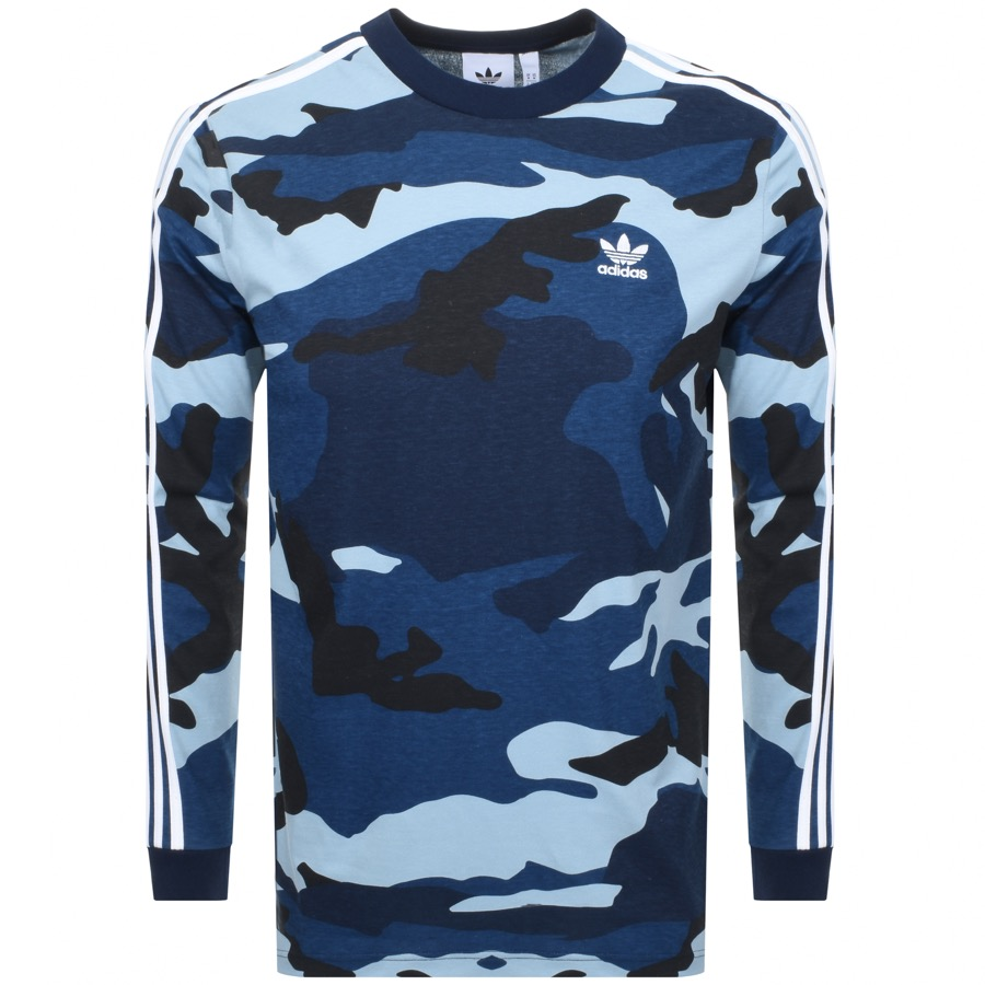Main Product Image for adidas Originals Long Sleeve Camo T Shirt Blue