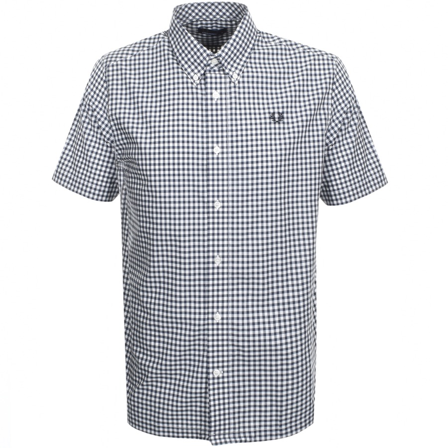 Fred Perry Short Sleeved Gingham Shirt Navy