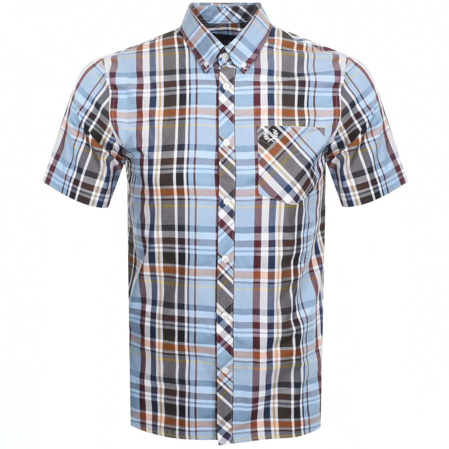 Main Product Image for Fred Perry Short Sleeved Madras Check Shirt Blue