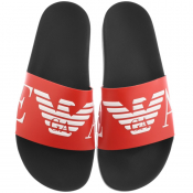 Emporio Armani Logo Sliders Red
