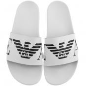 Emporio Armani Logo Sliders White