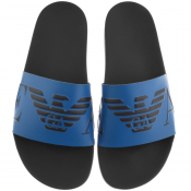 Emporio Armani Logo Sliders Blue