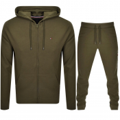 Tommy Hilfiger Lounge Hooded Tracksuit Army Green