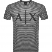 Armani Exchange Striped Crew Neck Logo T Shirt Bla