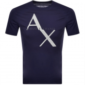 Armani Exchange Crew Neck Logo T Shirt Blue